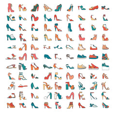 Beautiful set of various shoes and sandals, isolated on white background. Vector bundle with 99 different summer and spring female footwear with different heels and platform types. Vector illustration
