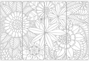 Set of four bookmarks .Floral doodling