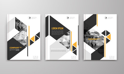 Abstract a4 brochure cover design. Text frame surface. Urban city view font. Title sheet model. Modern vector front page. Brand logo. Ad banner texture. Yellow triangle, arrow figure icon. Flyer