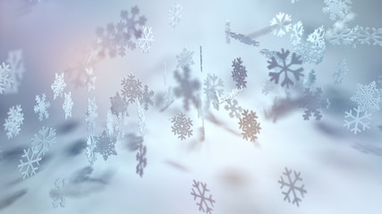 Pretty Christmas background with dainty snowflakes