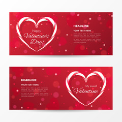 "Vector set of horizontal banners for ""Happy Valentine's day"" with heart shaped candy canes. Holiday red background for flyers with effect bokeh."