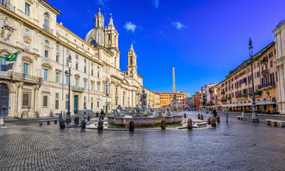 Church Sant Agnese in Agone, Palazzo Pamphilj and Fontana del Moro (Moor Fountain)  on Piazza Navona in Rome, Italy
