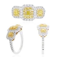 argolla anillo con diamantes amarillos y blancos y zafiros y rubies joyeria en oro