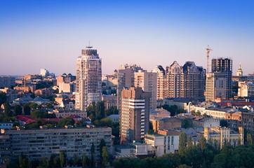 cityscape, modern buildings in the city Kiev Ukraine