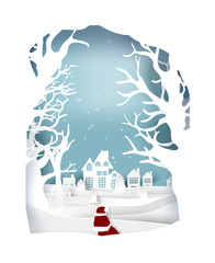 paper art landscape of Christmas with tree and house design. vector illustration