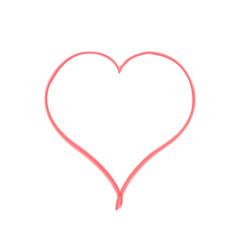 Scarlet brush heart on white background. Illustration