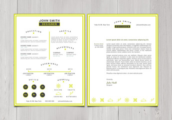 Yellow Border CV and Cover Letter Layout