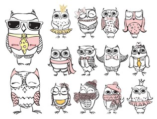 Vintage poster with stylish cute owls, vector illustration