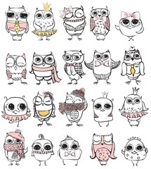 Set of 10 Cute hipster hand drawn owl