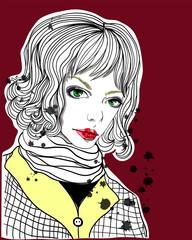 Portrait of beautiful girl on red background. Fashion illustration