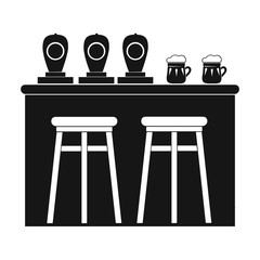 Bar icon in black style isolated on white background. Pub symbol stock vector illustration.