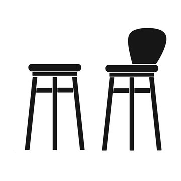 Bar stool icon in black style isolated on white background. Pub symbol stock vector illustration.