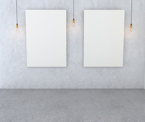 Mockup interior gallery. Paintings with a blank canvas and red l