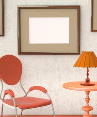 Mocap home retro interior room. Room with furniture and a blank
