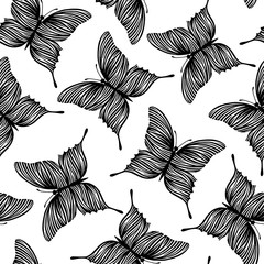 Seamless pattern with butterflies. Black and white background.