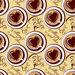 Seamless pattern with coffee cups, calligraphic hand written tex