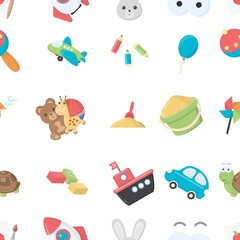 Toys pattern icons in cartoon style. Big collection of toys vector symbol stock illustration
