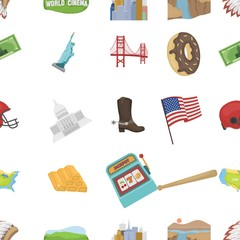 USA country pattern icons in cartoon style. Big collection of USA country vector symbol stock illustration