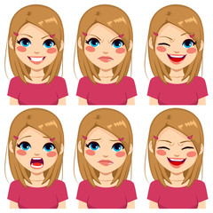 Teenage girl making six different face expressions set with pink shirt