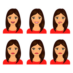 Young women faces isolated on white background. Vector illustration. Set of facial expressions of girl.
