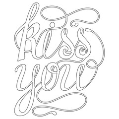 Happy valentines day Lettering, design elements for cards. Doodles curls.