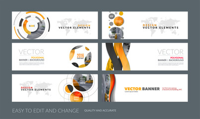 Vector set of modern horizontal website banners with colourful s