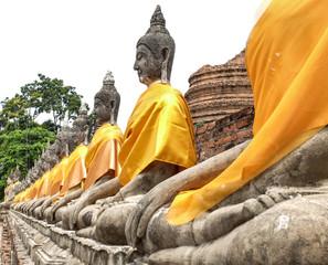 Row Sitting of Buddha statues at Wat Yai Chaimongkol Ayutthaya T
