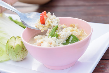 Crab Stew served with fresh vegetable (Lhon Pu)