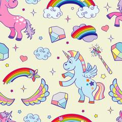 Vector hand drawn unicorns seamless pattern