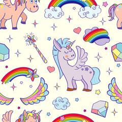 Vector hand drawn unicorns and magic seamless pattern
