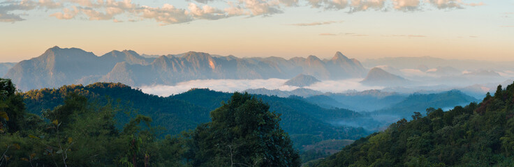 Aluminium Prints Mountains Mountain layer in the morning and winter fog in the national park thailand.landscape.