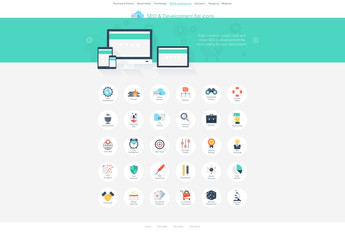 30 Flat Circular SEO and Development Icons