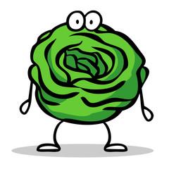 Grüner Cartoon Salat als Figur