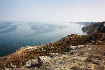 Summer day landscape with the sea and mountains. Ukraine, Republic of Crimea
