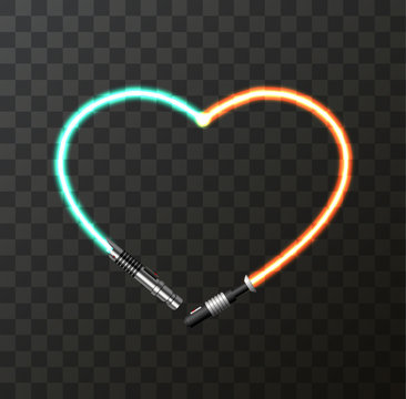 Vector modern concept heart and lightsaber for Valentines day