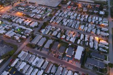 Aerial image of a trailer park