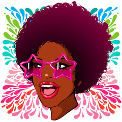 vector illustration afro woman disco style stars in glasses on a bright background