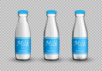 Transparent glass bottle of milk with labels