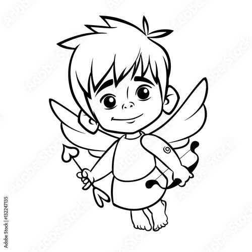 Outlined Funny Cupid Cartoon Character With Bow And Arrow Vector