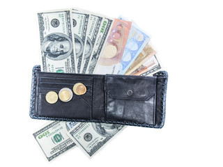 wallet on the background of banknotes