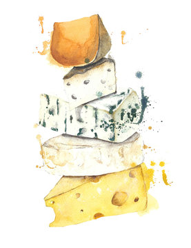 Cheese stack watercolor painting illustration isolated on white background