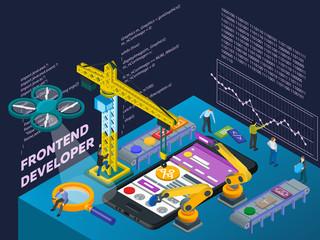 Mobile App Development. Flat 3d Isometric Mobile UI Web Design Concept.  Isometric Infographic Concept