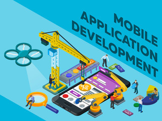 Mobile App Development. Flat 3d Isometric Mobile UI Web Design Concept.  Software For Smartphone