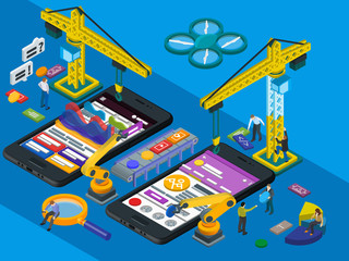 Mobile App Development. Flat 3d Isometric Mobile UI, UX Design Concept.  Frontend And