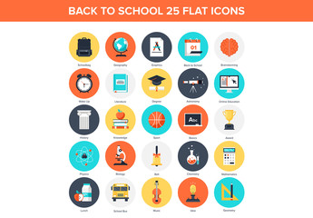 25 Flat Circular Back-to-School Icons