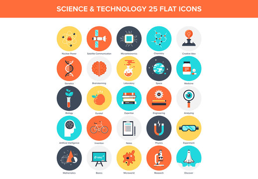25 Flat Circular Science and Tech Icons
