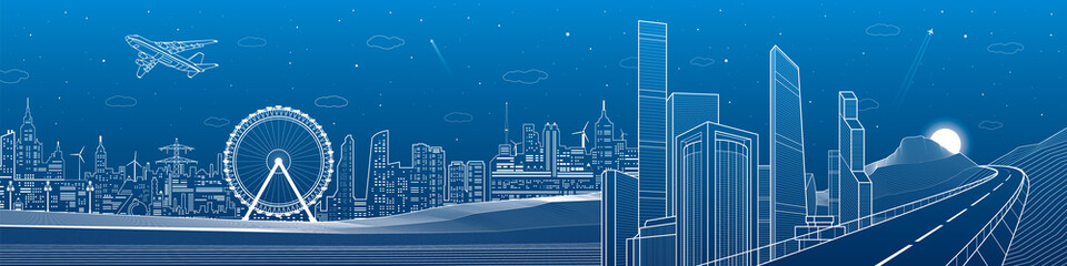 Highway in the mountains, city and transport mega panorama, business center, skyline, white lines landscape, night town, airplane fly, vector design art