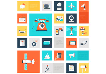 Travel and Communications Grid Illustration