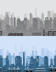 City skyline banners in trendy style