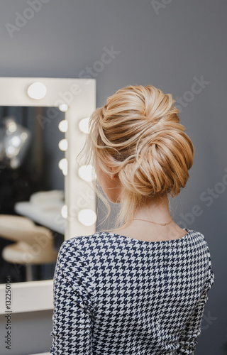 Close Up Detail Of French Twist Hairstyle Back Rear View At